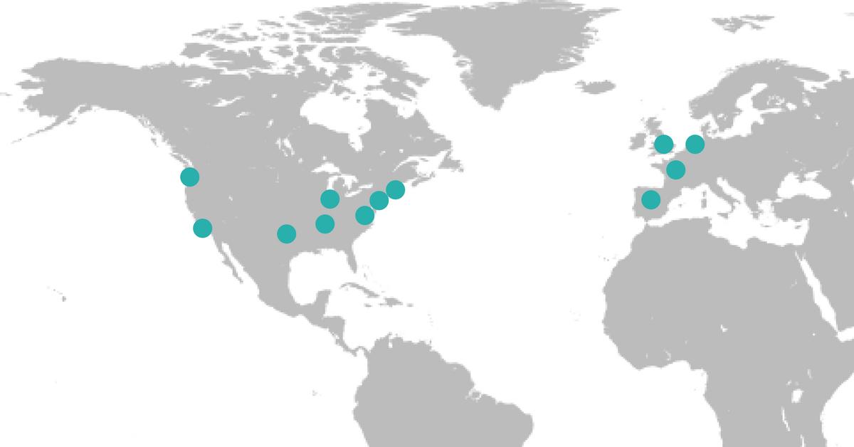 Map showing former Dataiku Meetups around the world