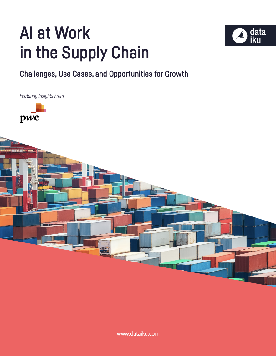 AI at Work in the Supply Chain cover with multi-colored shipping containers