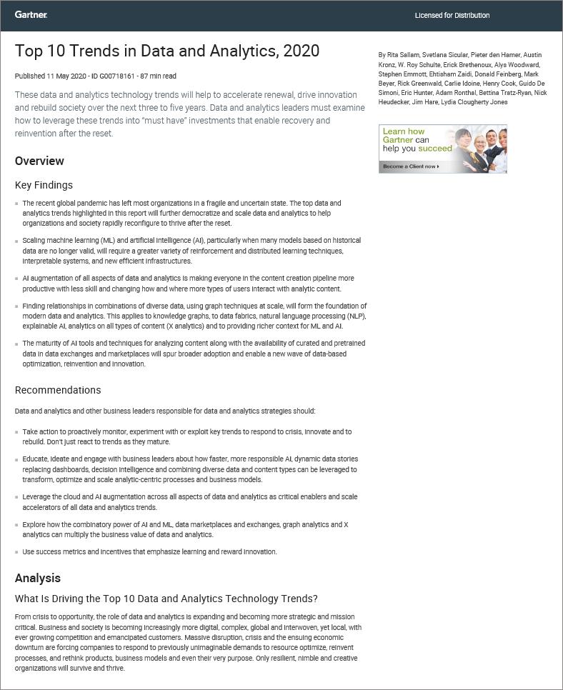 Gartner Top 10 Trends in Data and Analytics